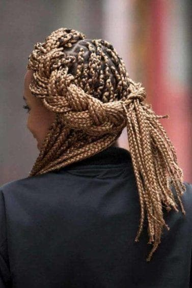 box braids on natural hair messy crown braid