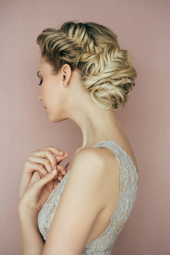 curly prom hairstyles fishtail braided bun