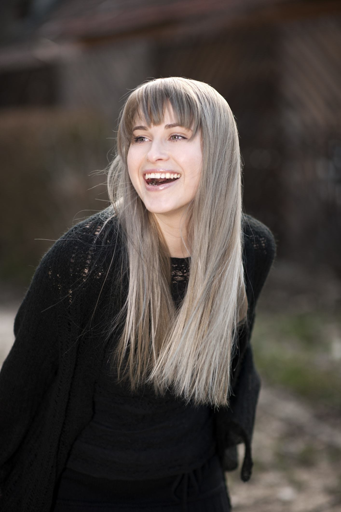 grey ombre hair long straight bangs