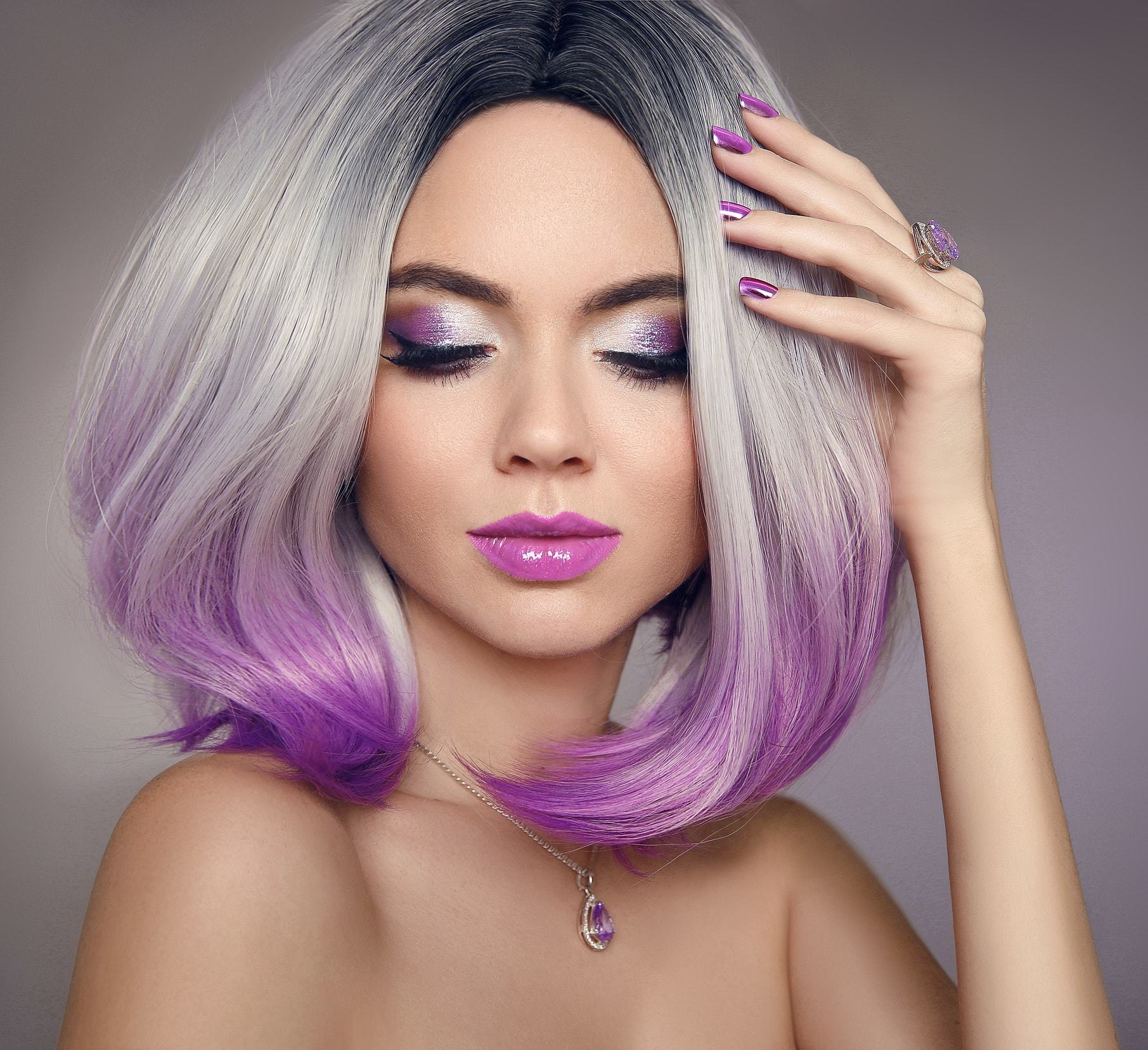 grey ombre hair reverse purple