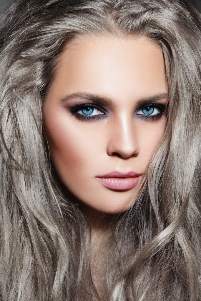 grey ombre hair rooted black