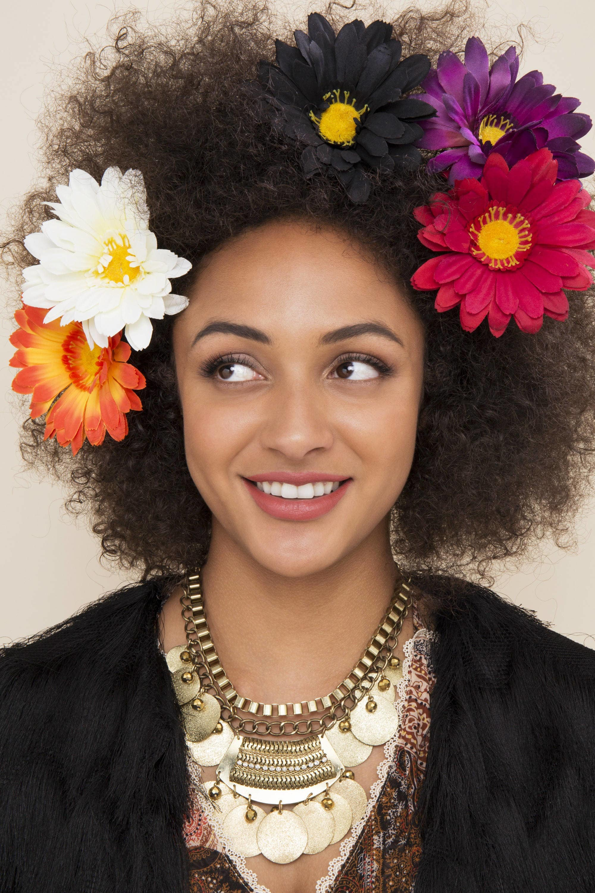 hippie hairstyles flowers and 'fro