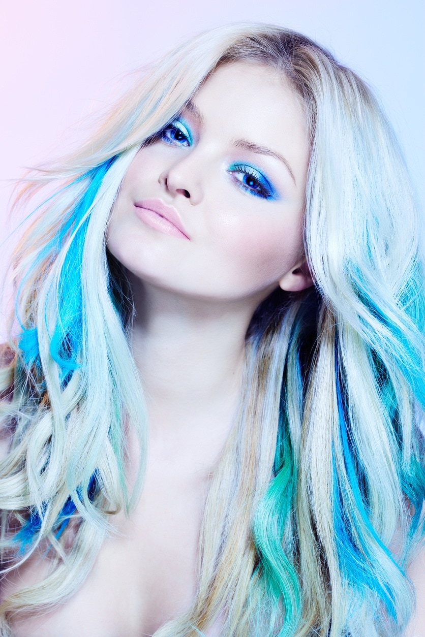 long hair with highlights neon blue