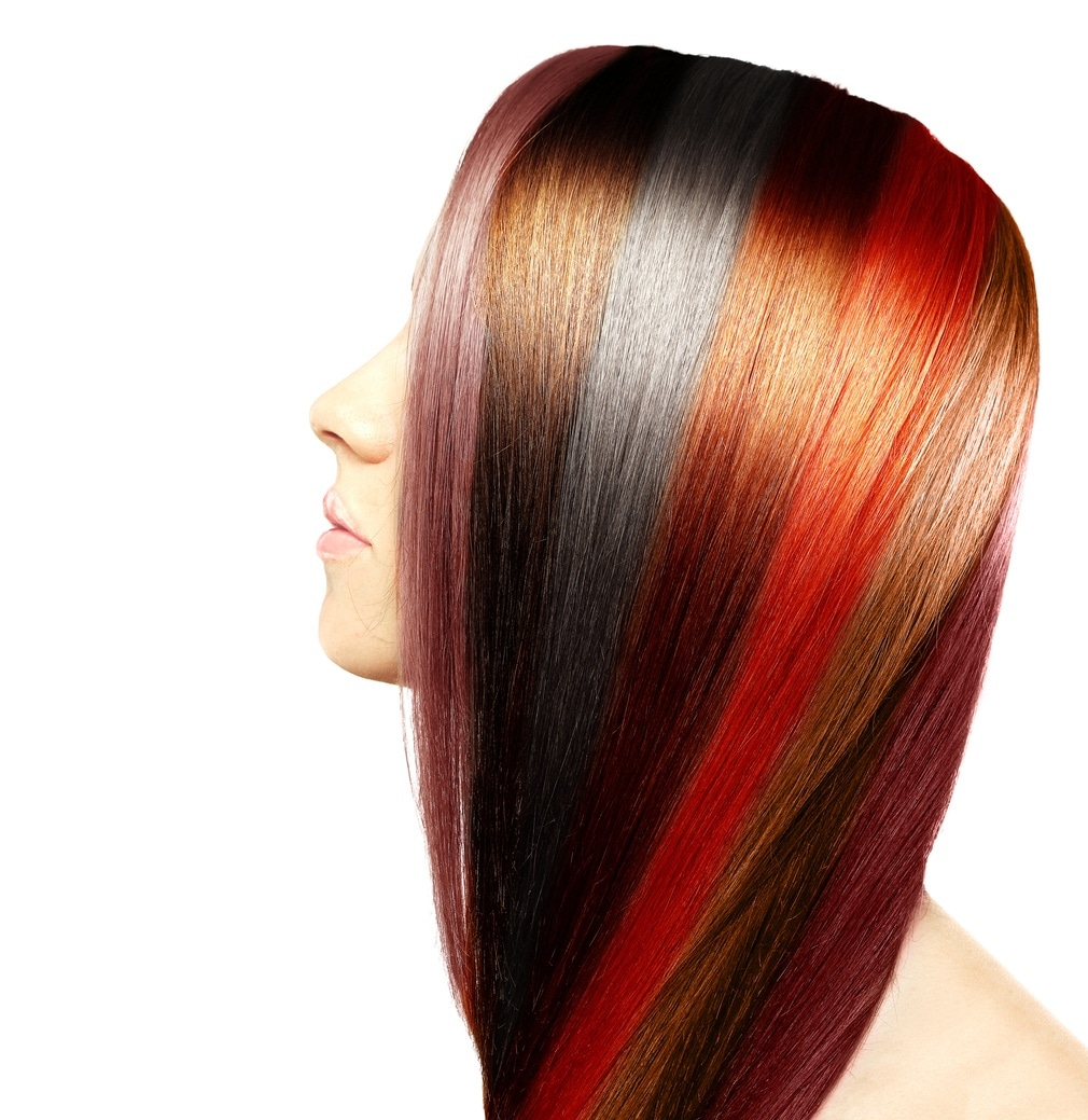 long hair with highlights multicolored