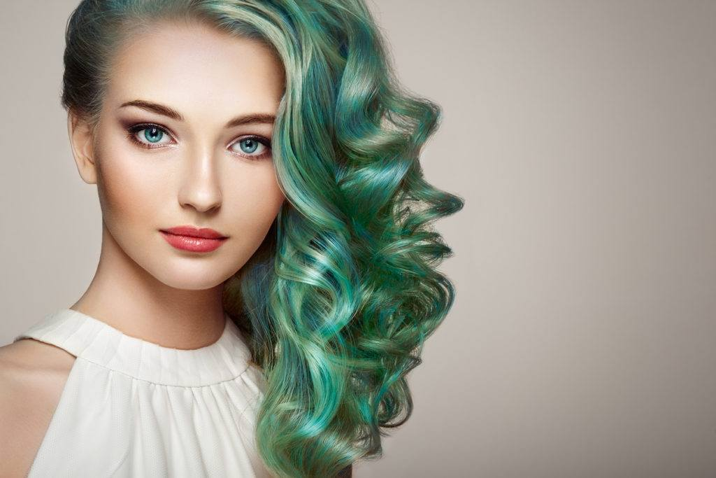 long hair with highlights teal