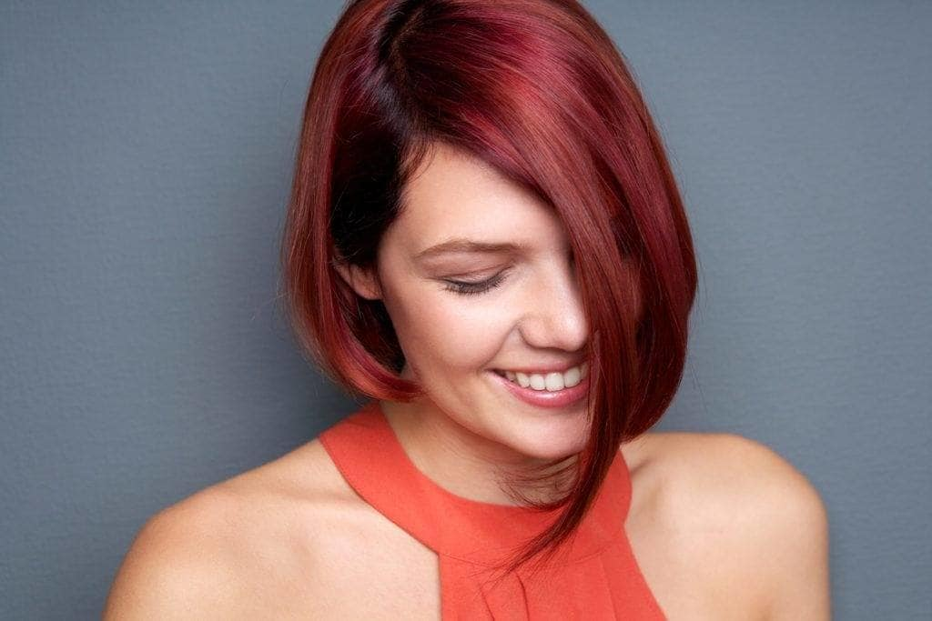 Medium Length Bob Hairstyles red color and cut