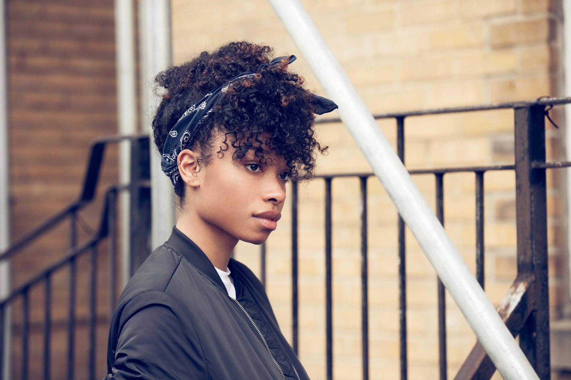 natural hair updos: fringe pineapple