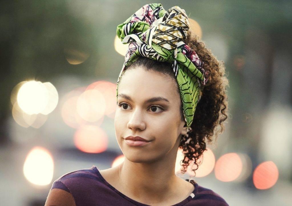 natural hair updos: scarf