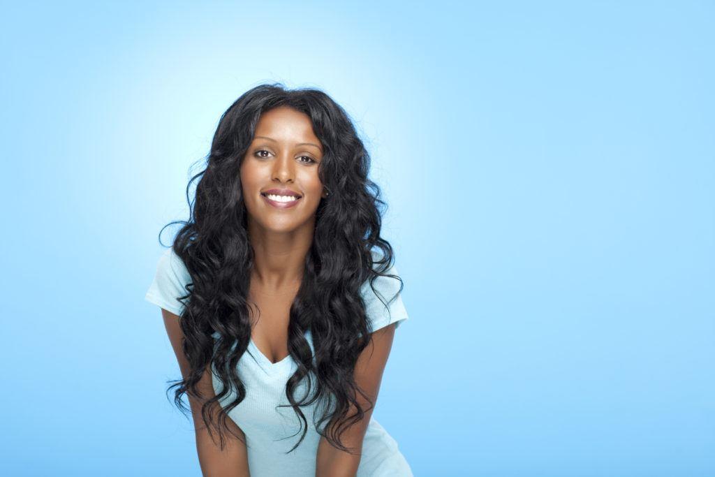 Roller set on natural hair: wavy