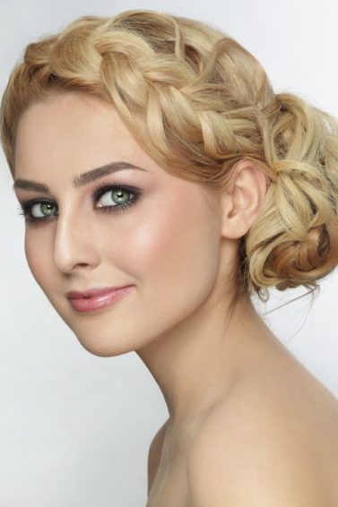 side bun hairstyles curly braided bun