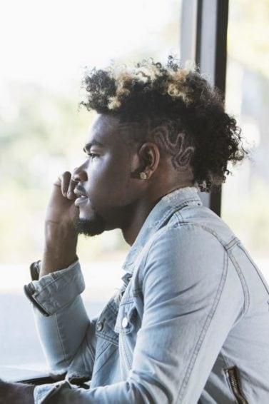curly hair undercut: designs