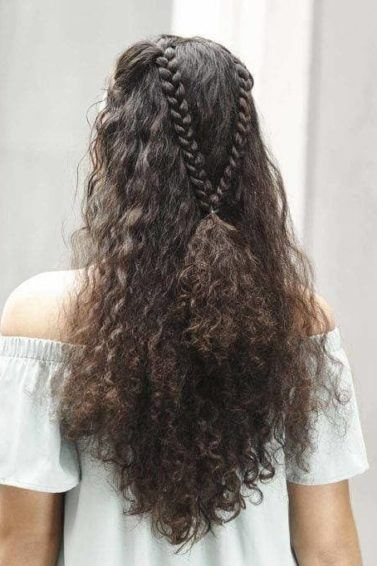 hairstyles for thick coarse hair: curls and braids