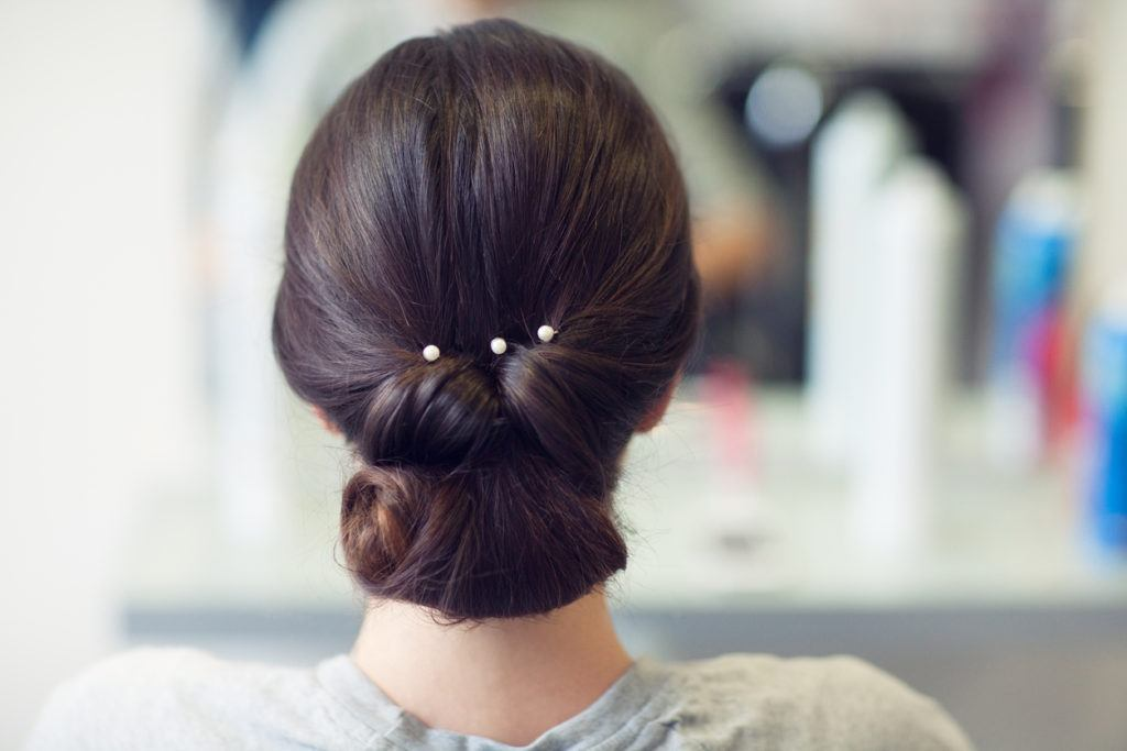 prom updos for long hair pinned chignon