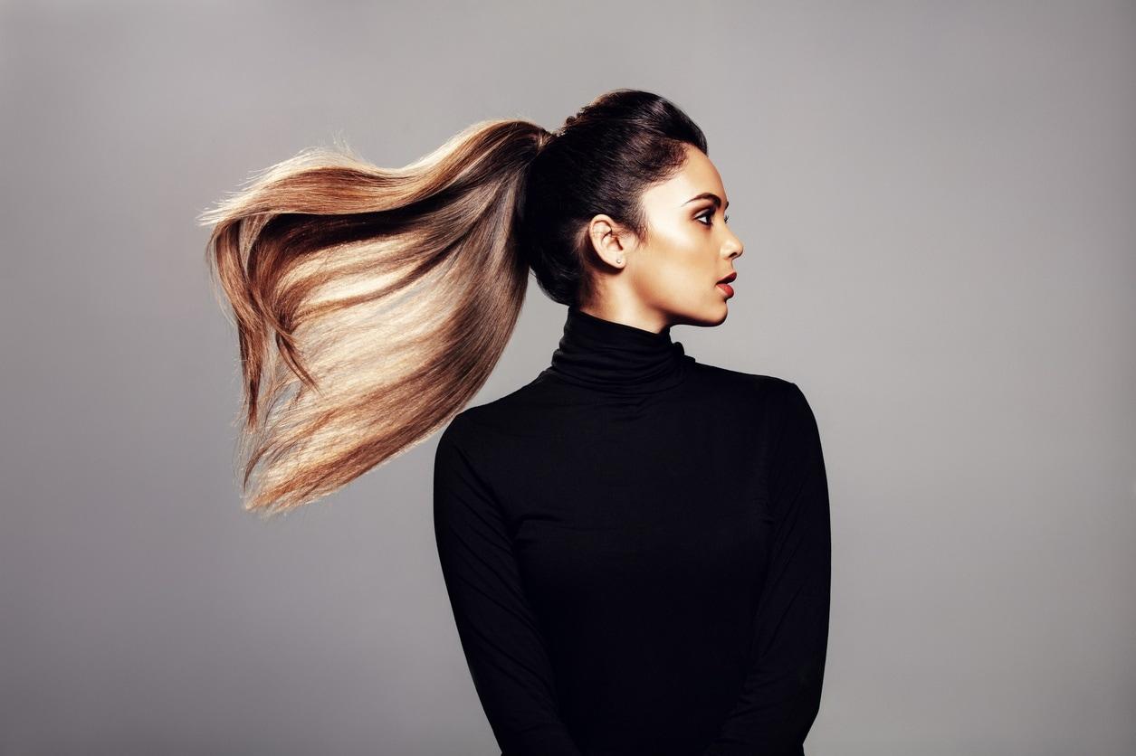 dark ombré hair sleek ponytail