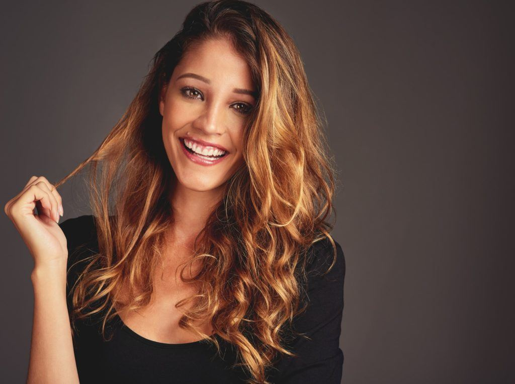 long hair with short layers highlights curls