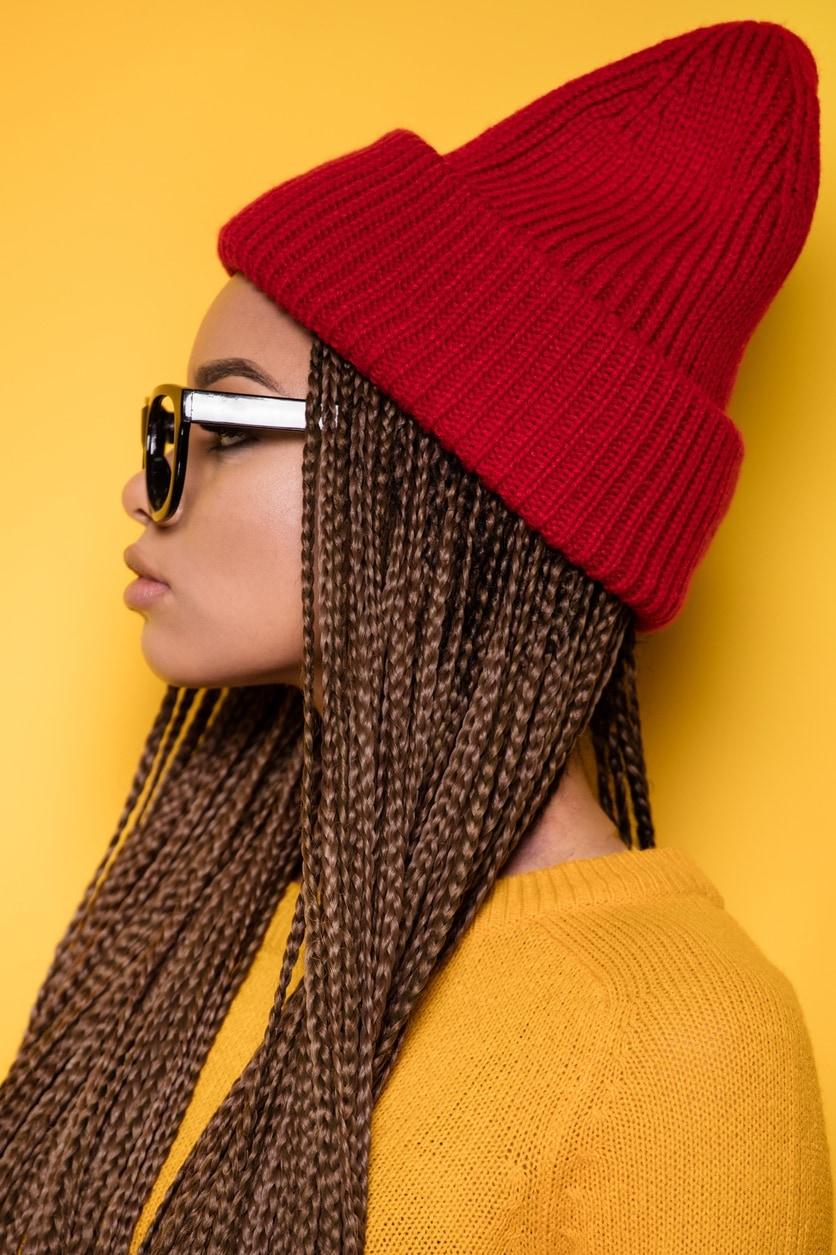 micro braid hairstyles: hat