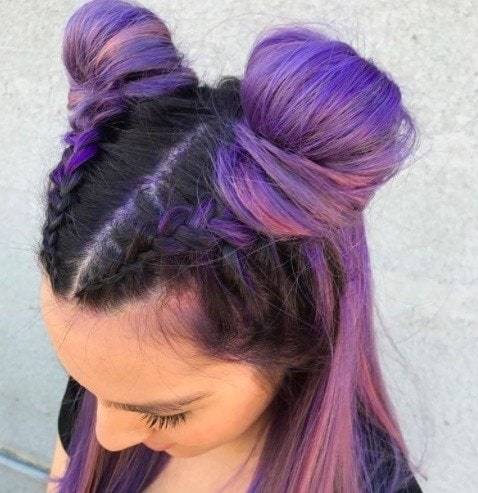 purple ombre hair dark purple and candy pink ombre