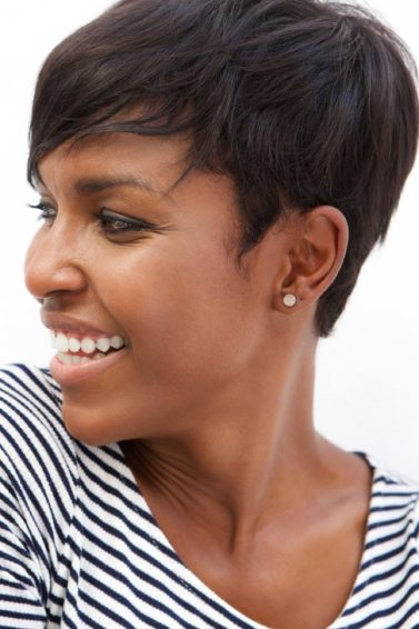 short black hair swooped pixie