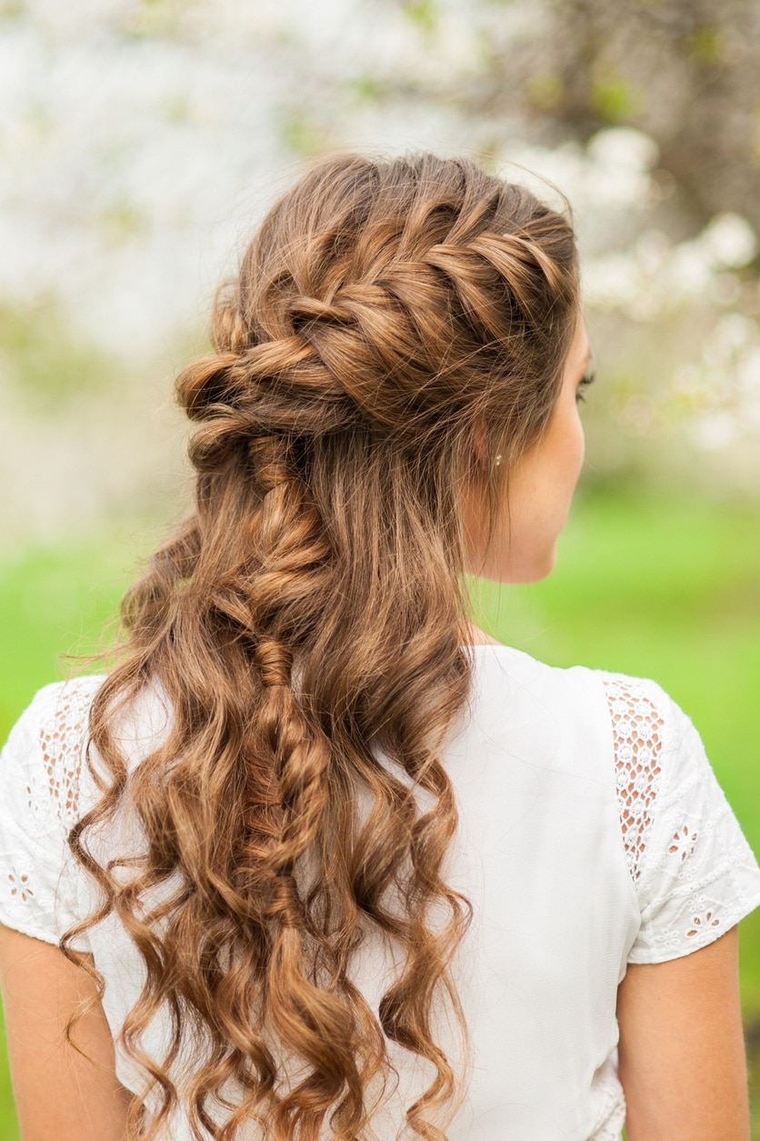 braided hairstyles curled half up