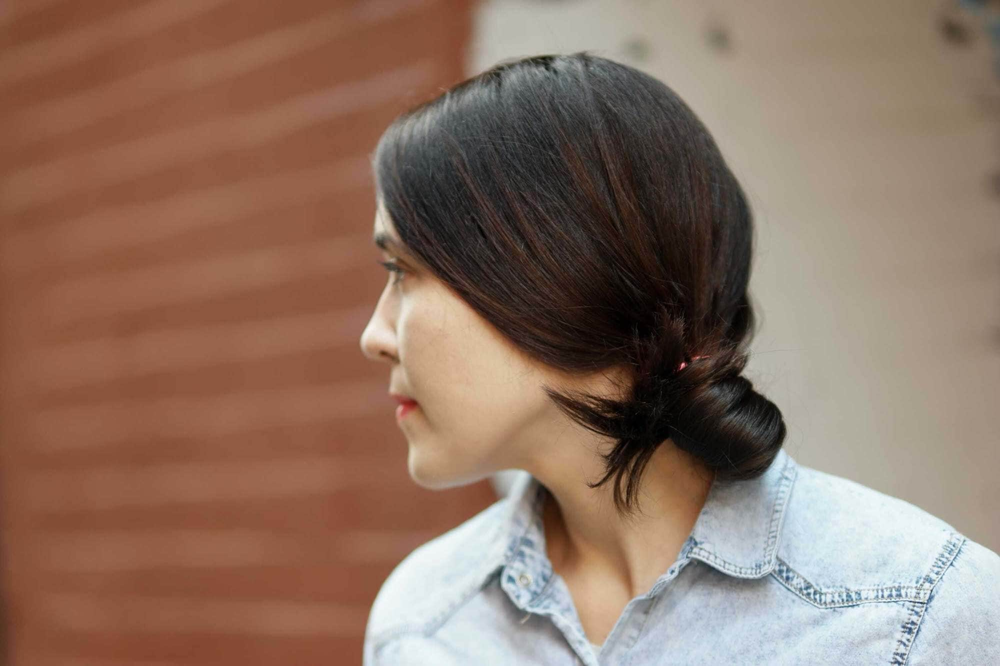 knot bun hairstyle off side knot bun