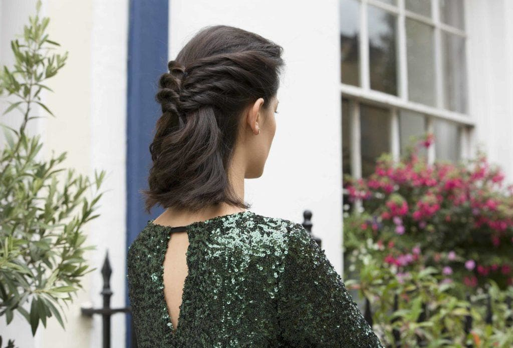 wedding hairstyles for medium length hair: twisted updo