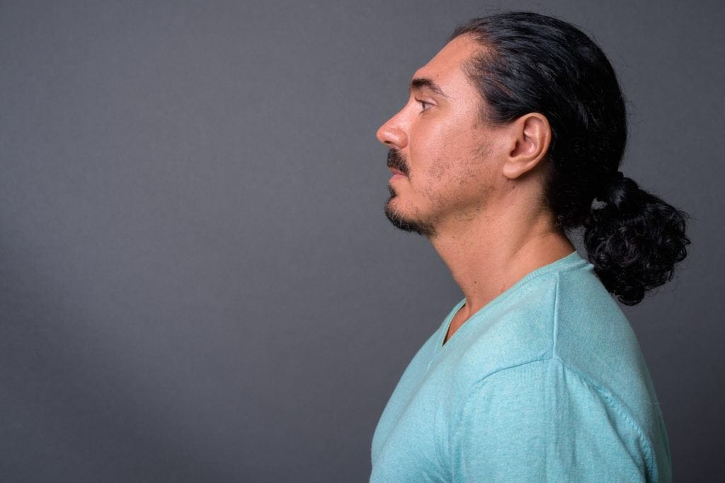 man ponytail: curly
