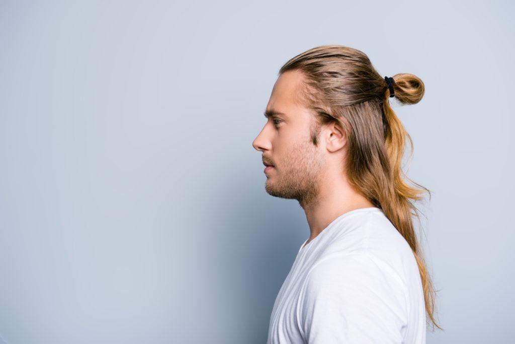 man ponytail: half bun