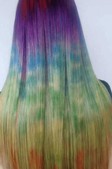 tie-dye hair rainbow colors