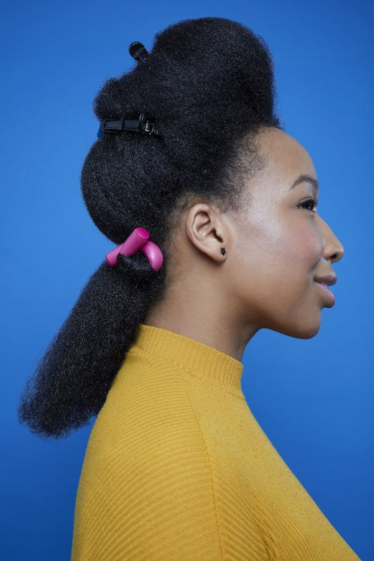 flexi rods on natural hair: twisted hair on rod