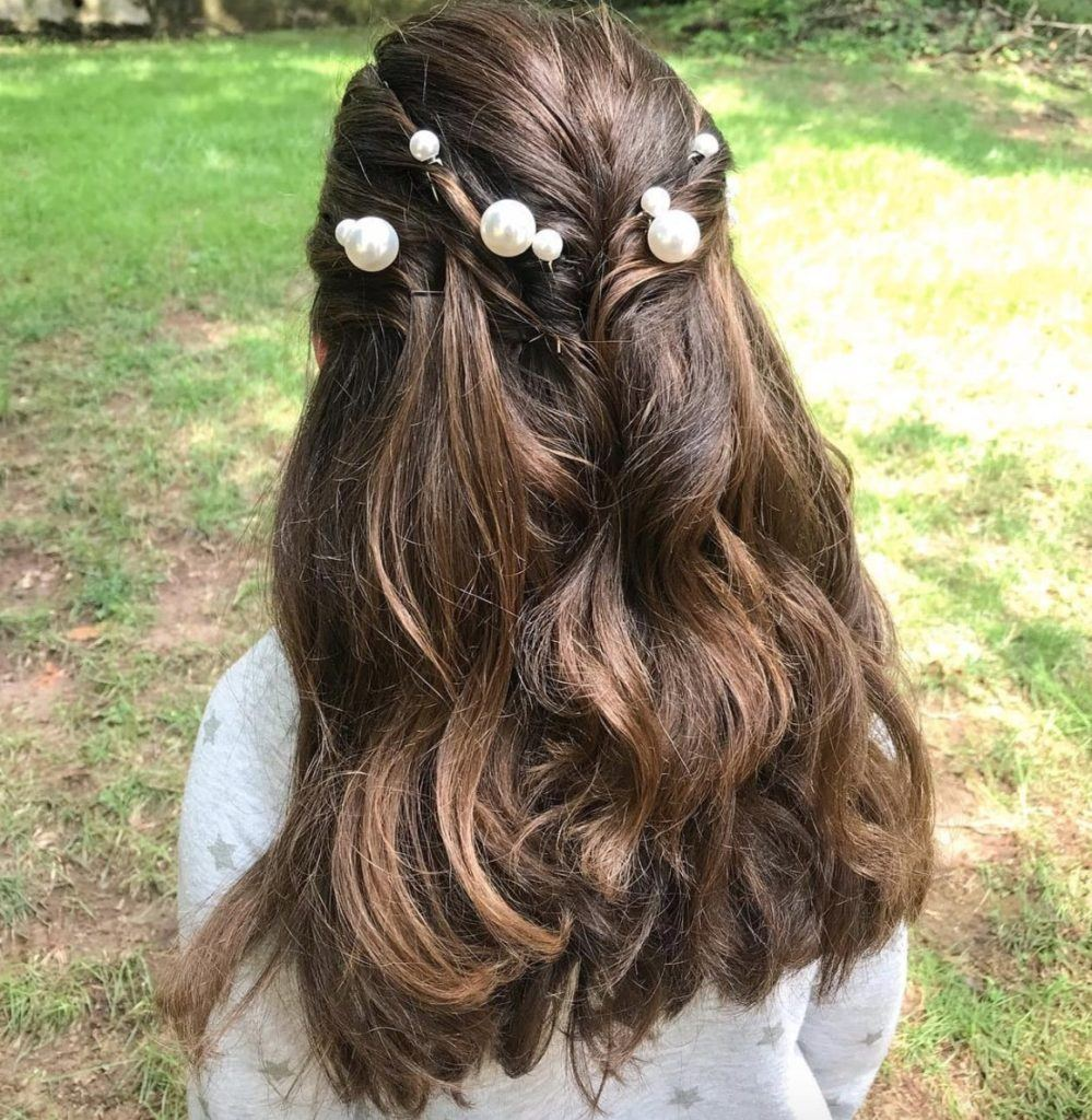 fall wedding hairstyles curls and pearls