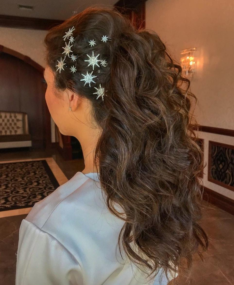 fall wedding hairstyles starry accessories
