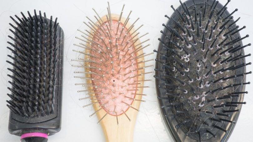 washing your hair brush