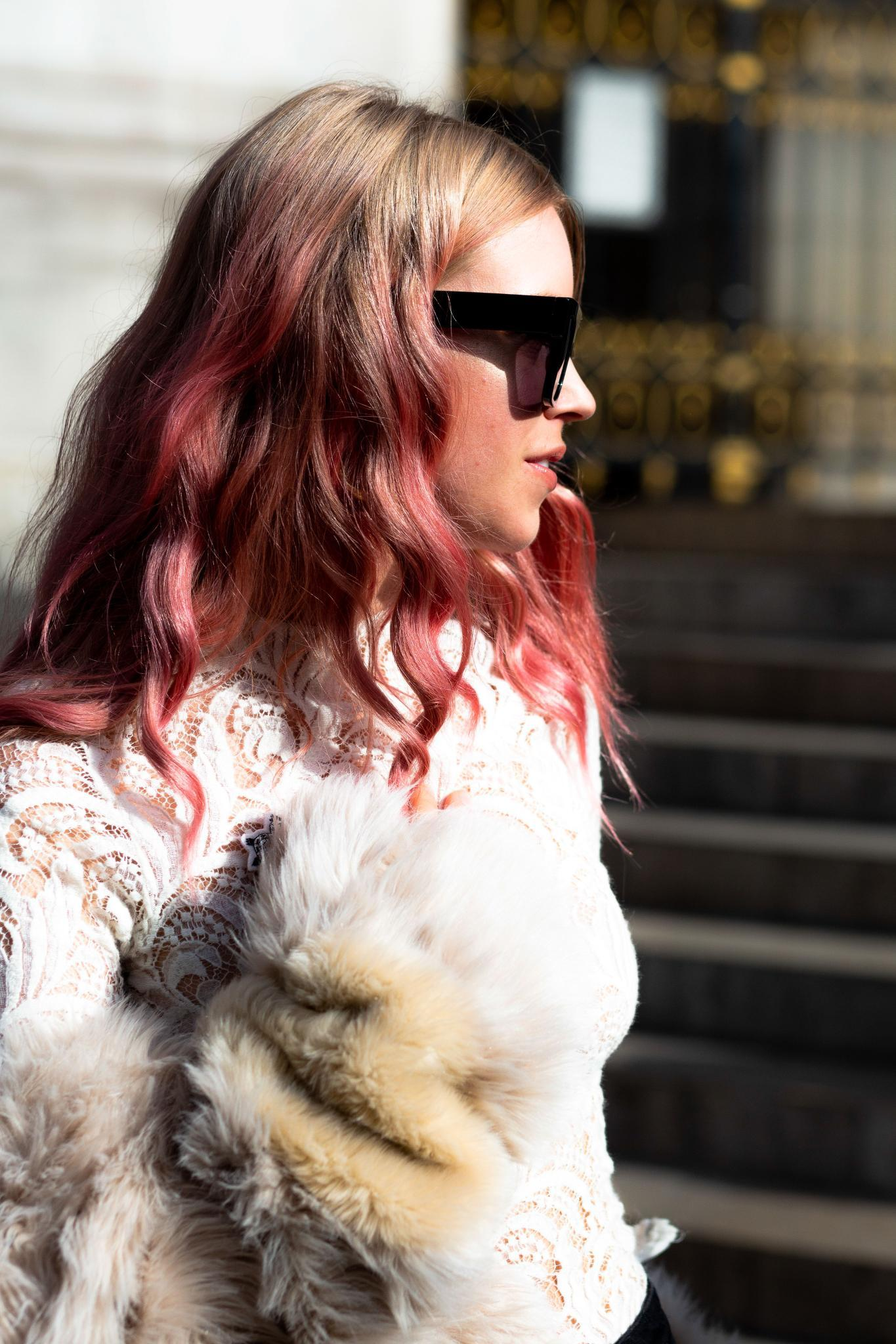 sweater weather hairstyles: pink hair