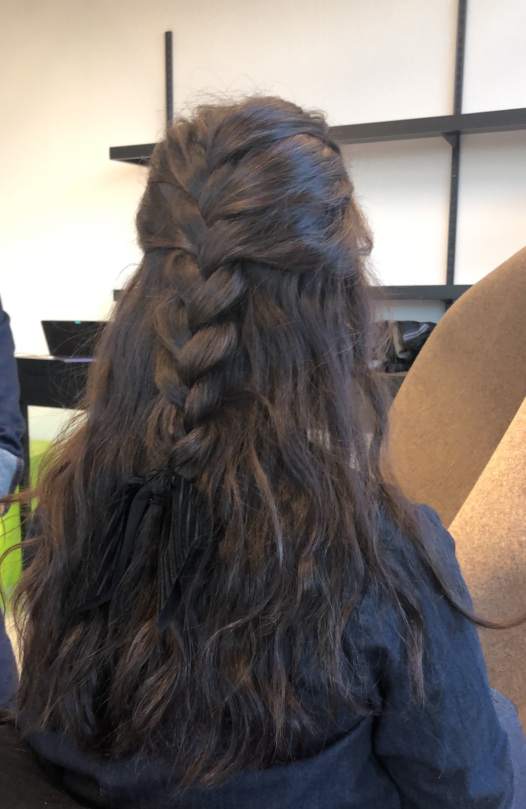 day to night looks half up braid bow brunette