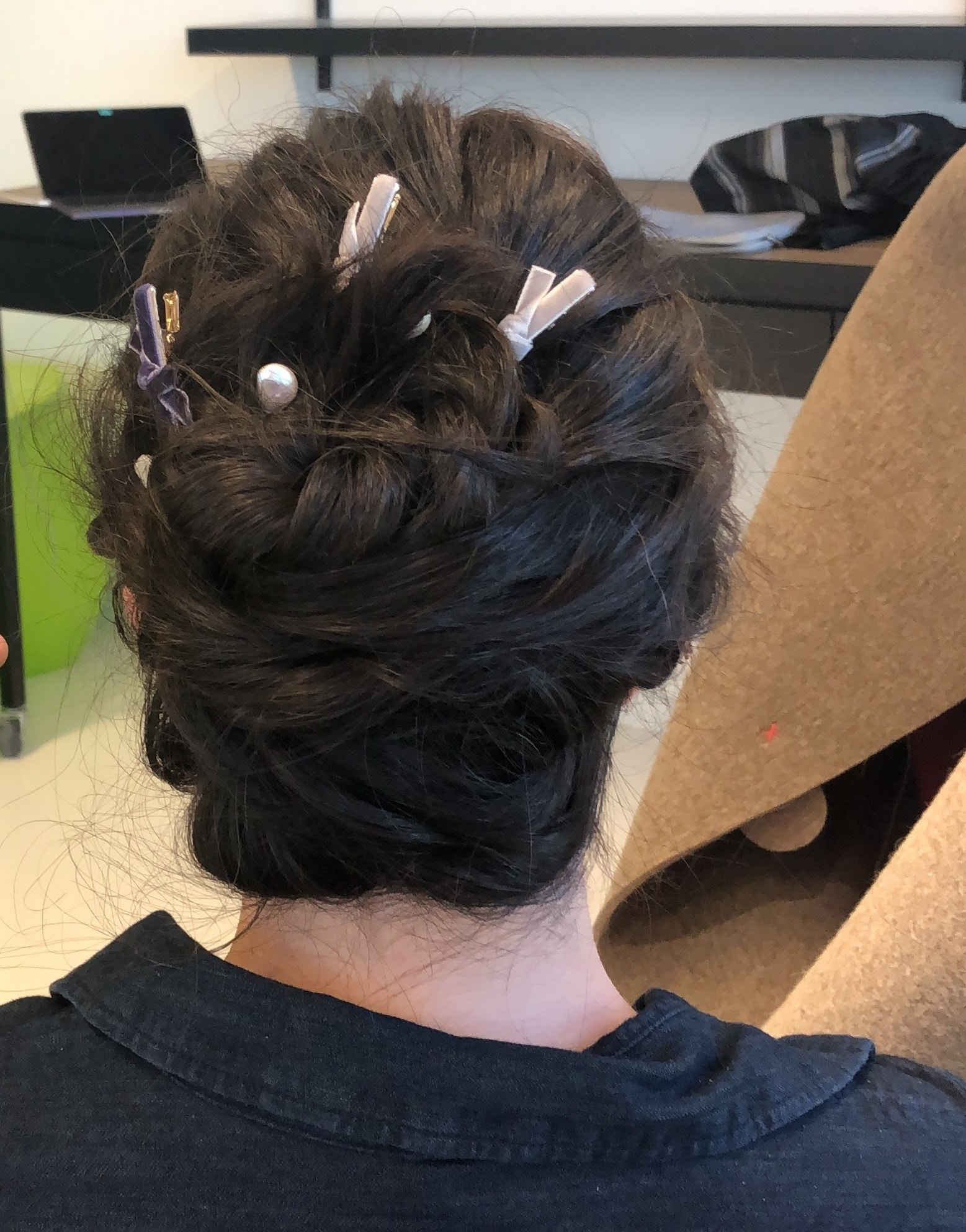 day to night looks twisted updo bows