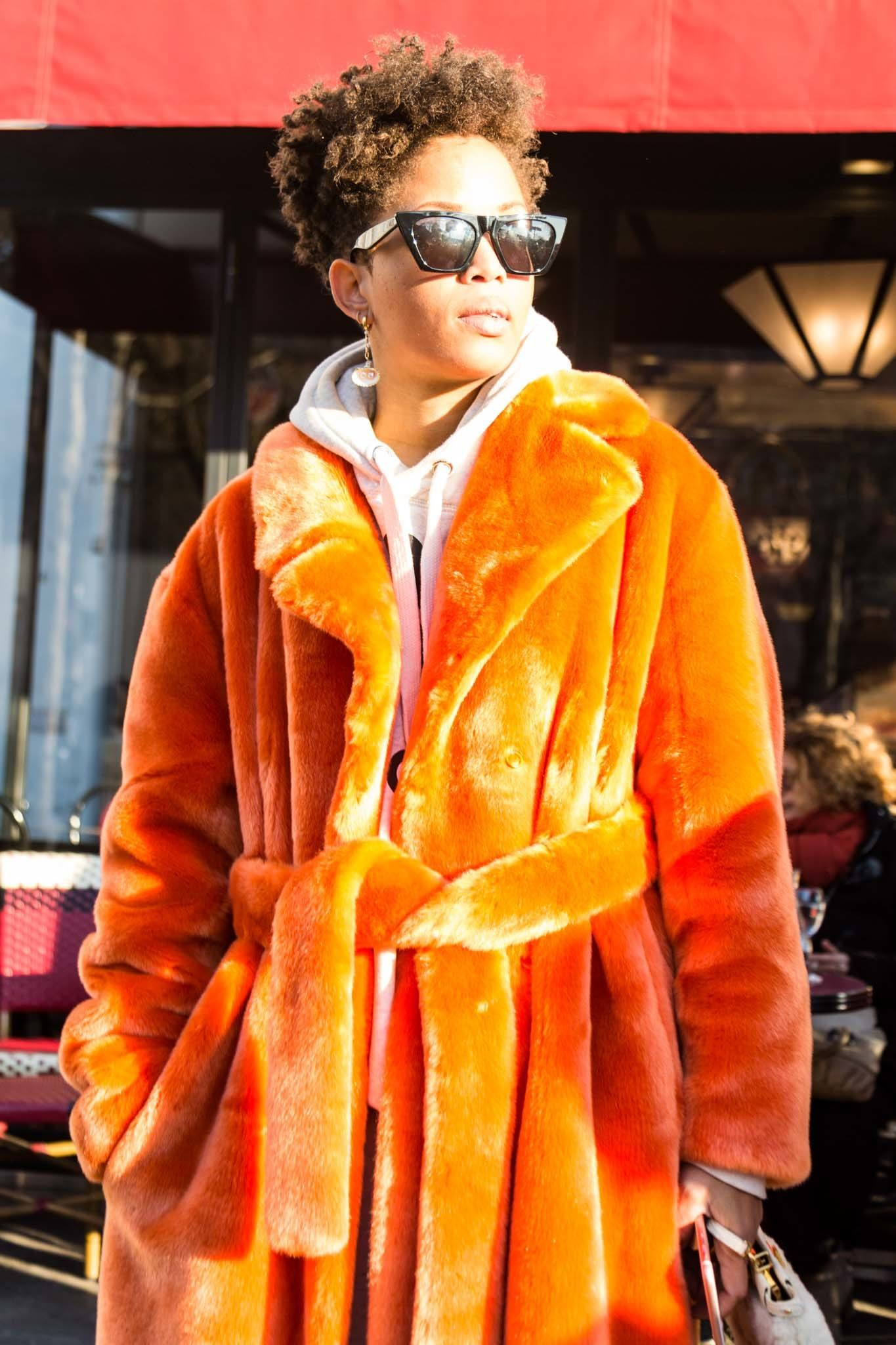 teddy coat and hairstyle pairings: tapered cut