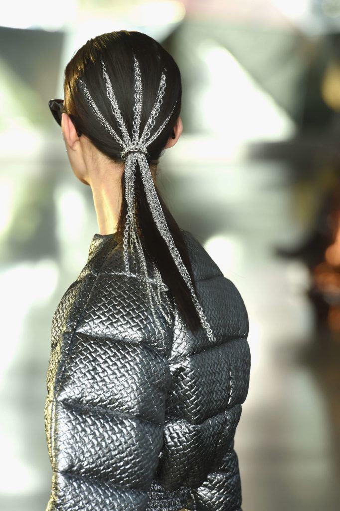 chained locks at christian siriano fw 19 black ponytail