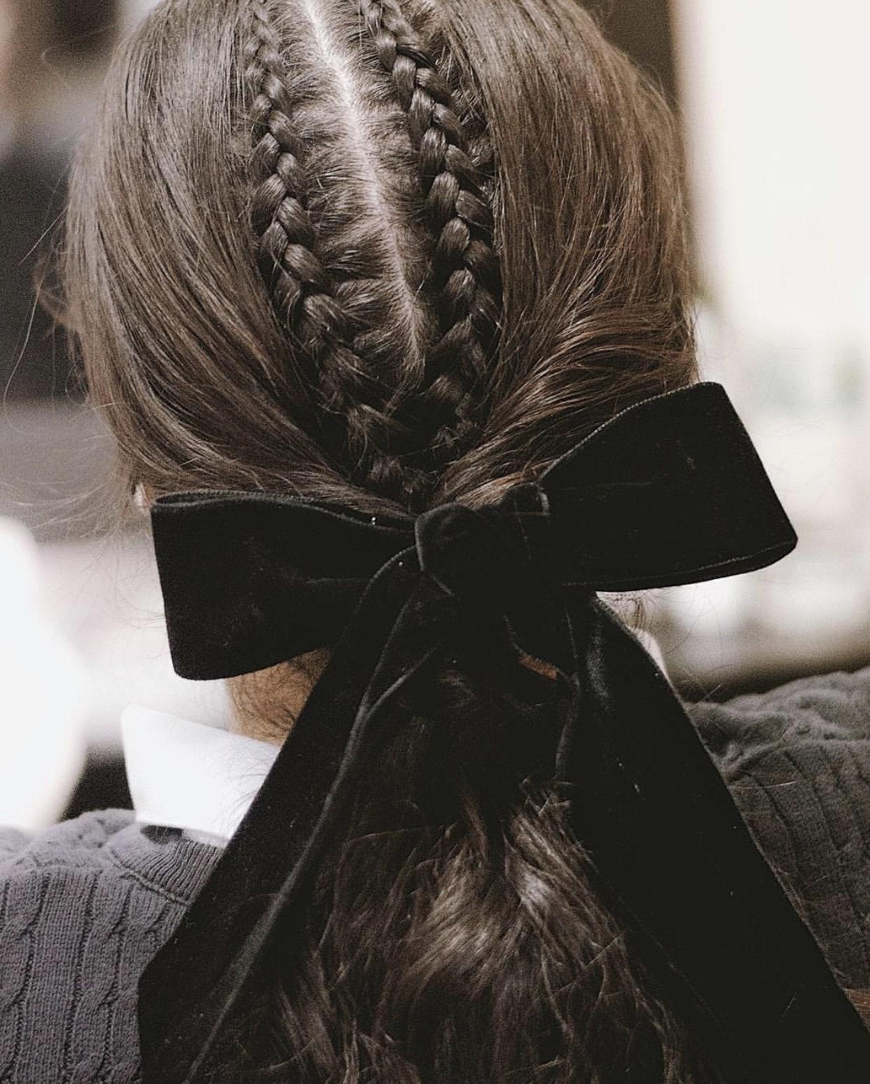 hair bows corn rows black velvet
