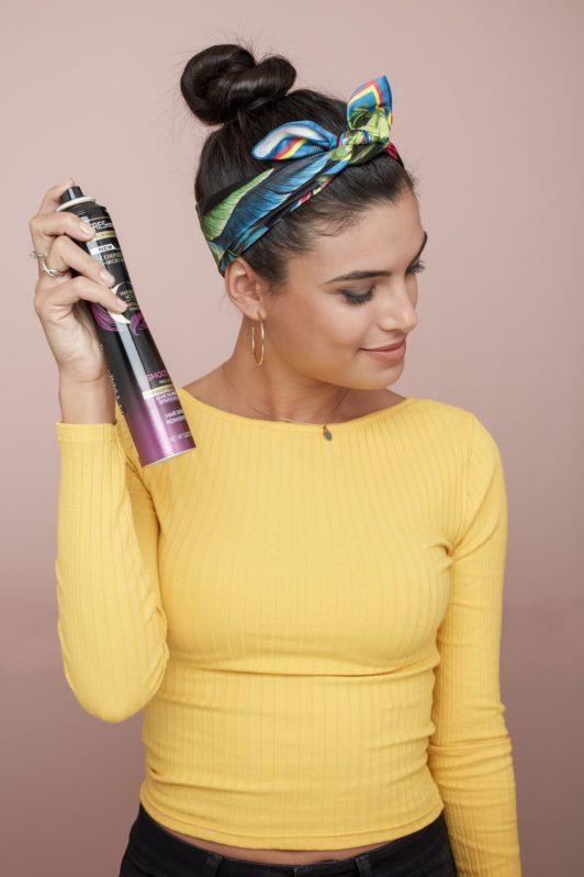 bandana hairstyles brunette bun headband hairspray