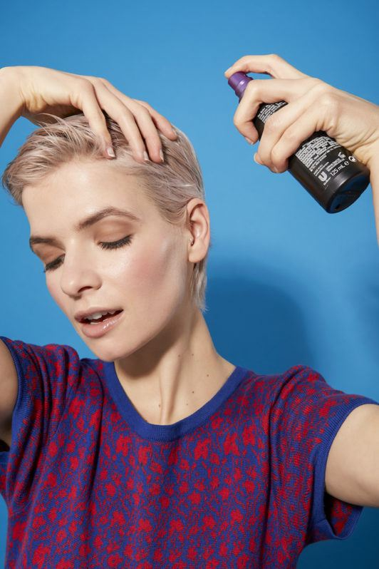 how to blow-dry a pixie: heat protectant