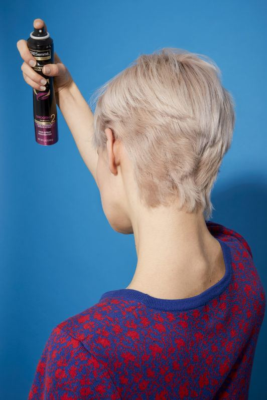 how to blow-dry a pixie cut: hairspray
