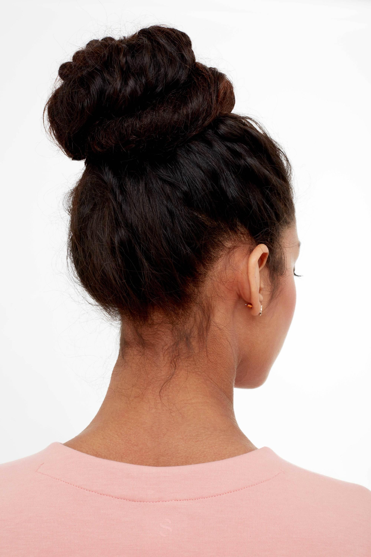 gym hair messy bun back