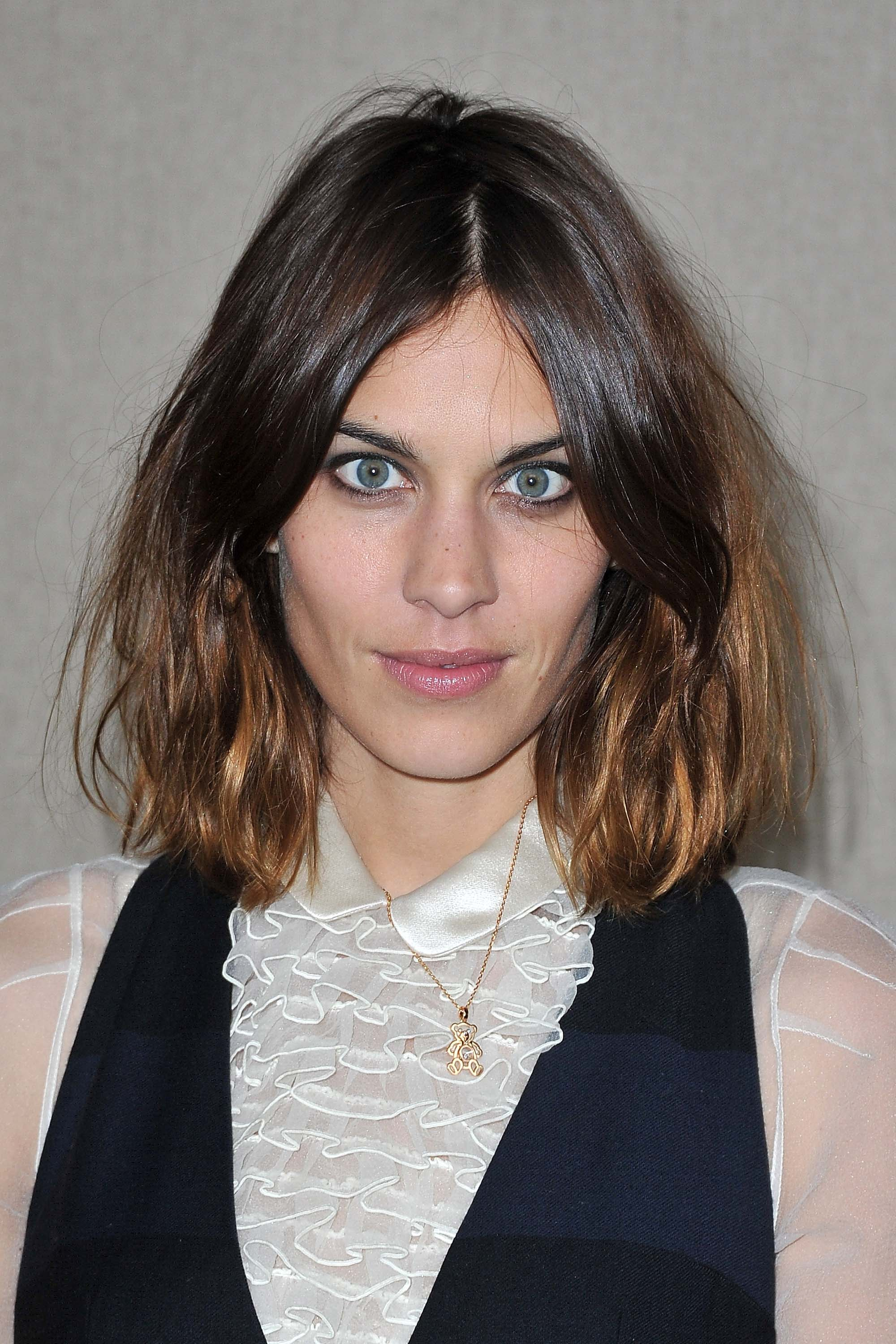 Alexa Chung brown dip-dyed hair