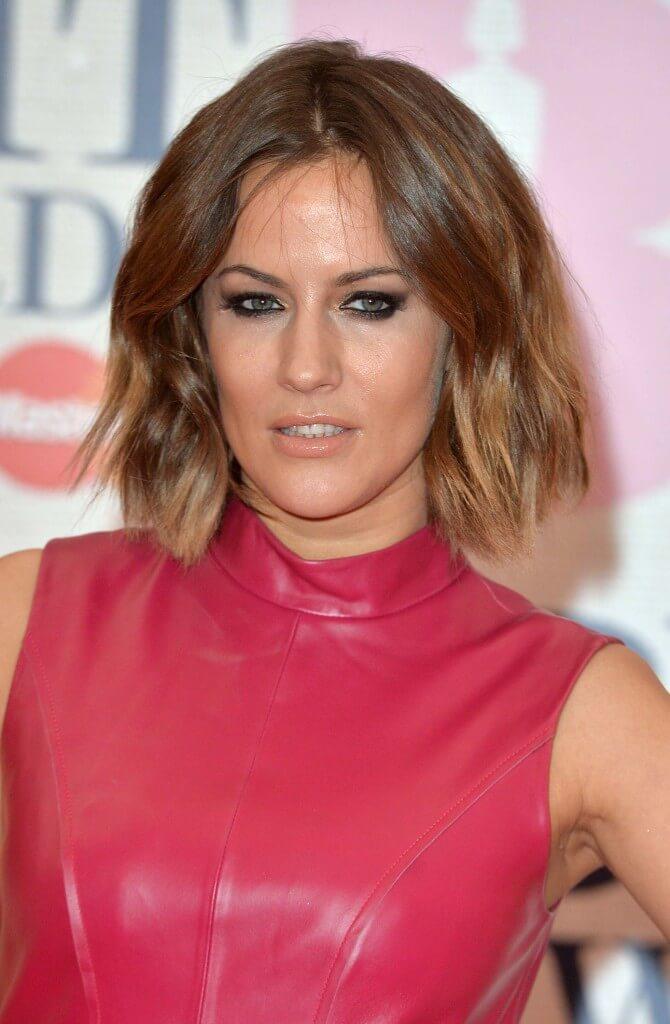Caroline Flack dip-dye ombre hair on shoulder length wavy hair
