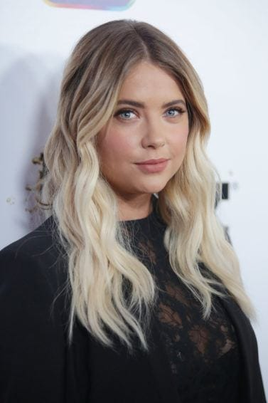 ashley benson long wavy blonde ombre hair