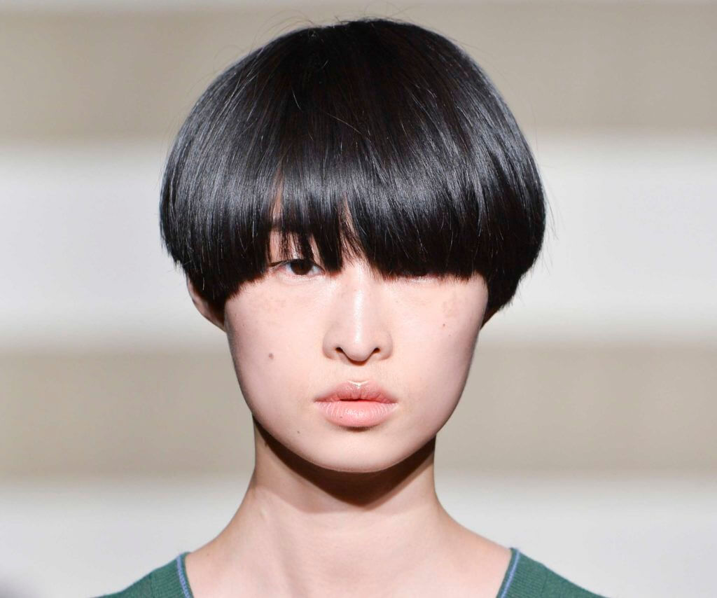 Very short hairstyles for women: Asian woman with a bowl haircut