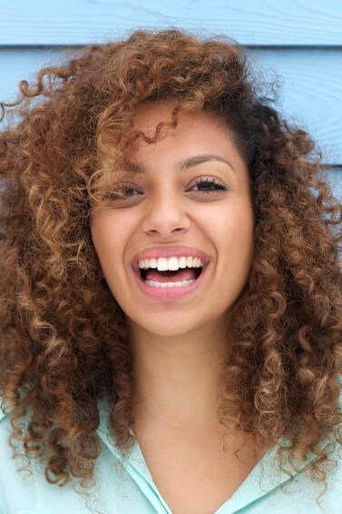 woman with afro curly hair