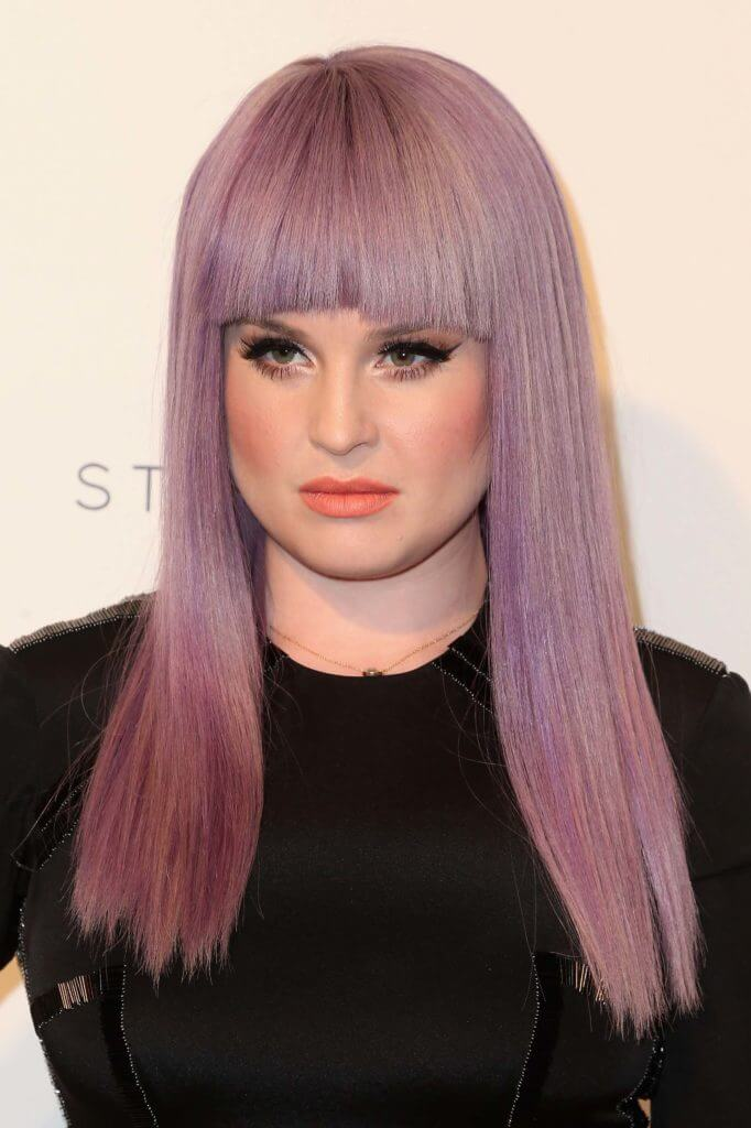 kelly osbourne purple hair blunt bangs