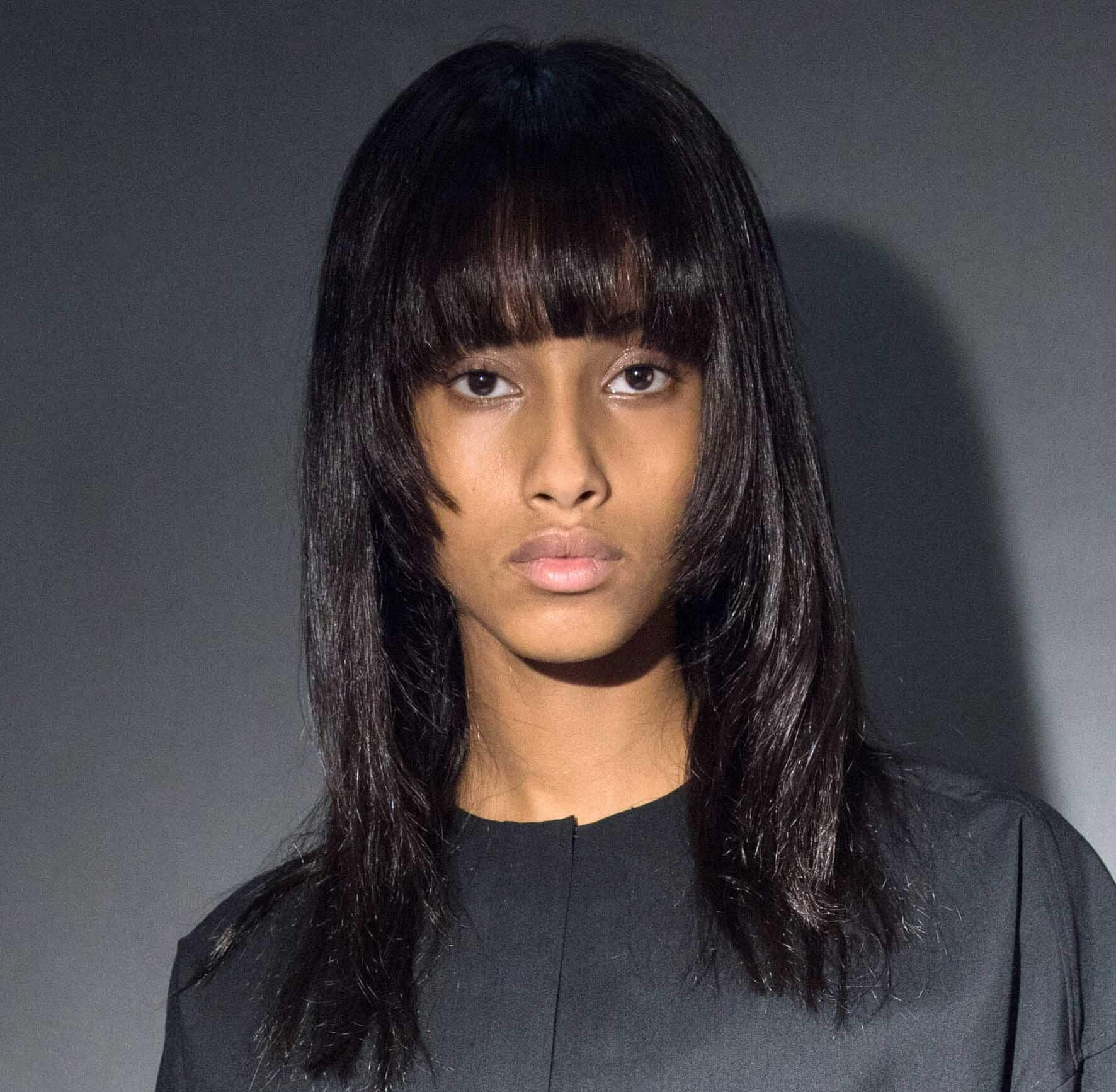 full fringe for long oval face shapes