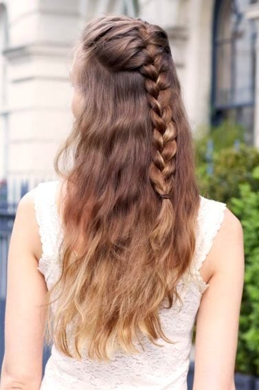 light brown hair with half up French braid
